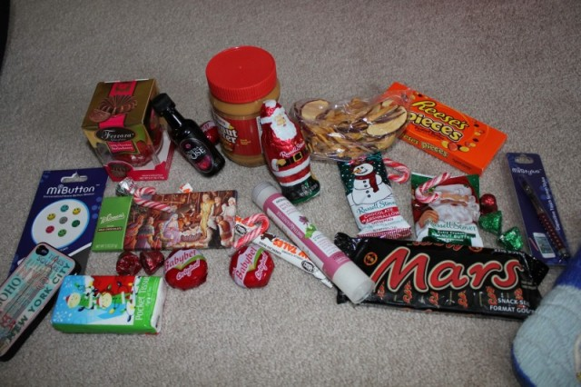 My stocking contents! Santa knows me well!